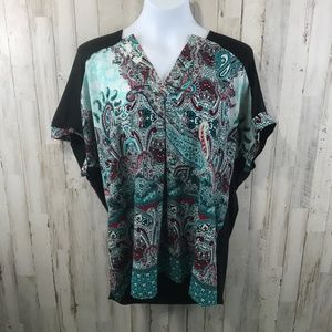 Dana Buchman Womens Top XL Black Green Paisley